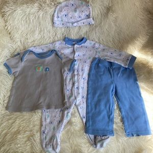 Baby Elephant 4piece Footie Pajama, Hat, & Outfit